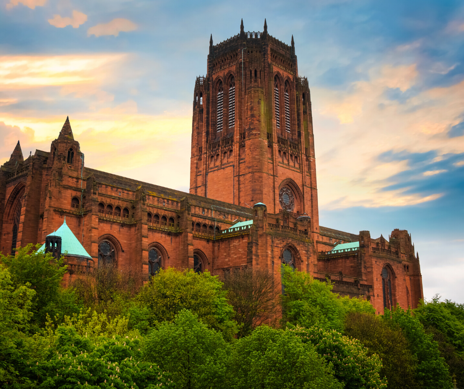 Liverpool Cathedral on the hill at sunset