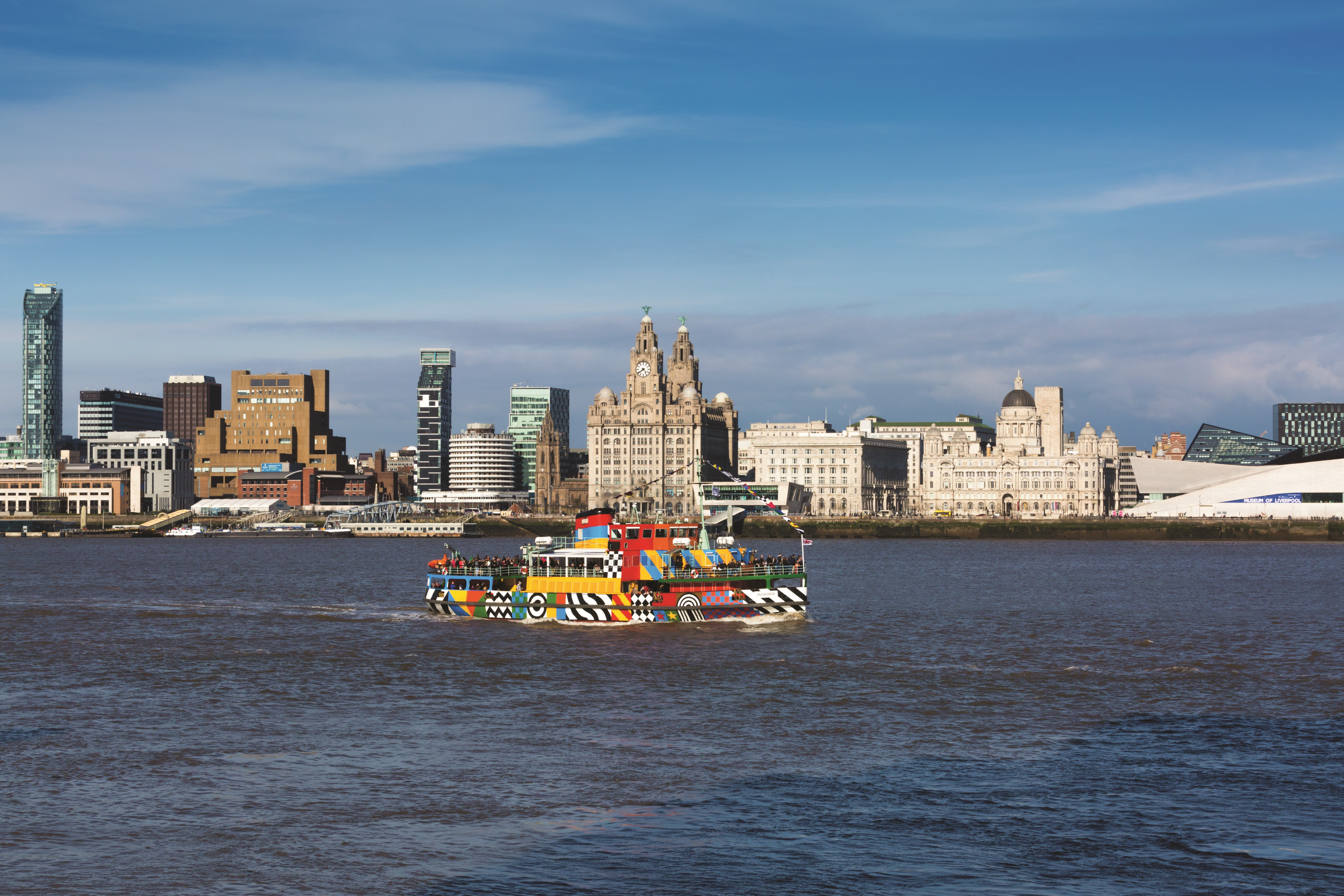 Bright Dazzle Ferry on the water at Liverpool Dock's